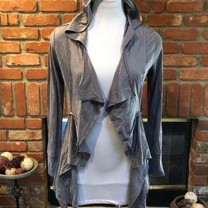 Heather Gray Ruffle Overlay Draping Hoodie Jacket